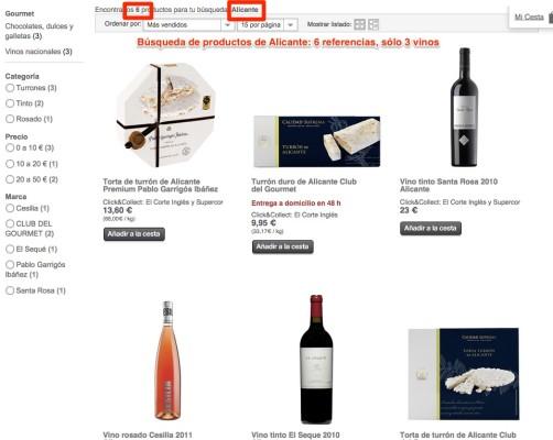El Corte Inglés no tiene vino de Alicante en Internet