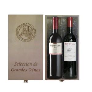 Estuche de madera 2 botellas de vino selección